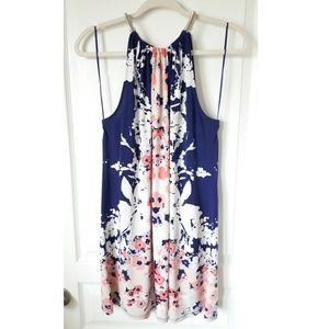 Alfani Navy Floral High Halter Shift Dress Size L